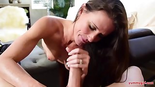 Small titted masseuse, Sofie Marie is gently sucking her clients dick, while his wife is handy function