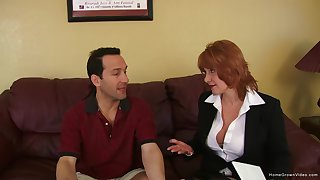 Busty grown-up redhead screams as she gets pounded hard