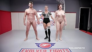 Naked Sex Fighting Mistress Kara wrestles Banneret Friday doing a 69 and being fucked hard