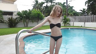 Sensual masturbation by the pool by laconic boobs hottie Kristy