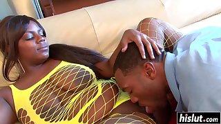 Ebony hot curvy MILF hard intercourse video
