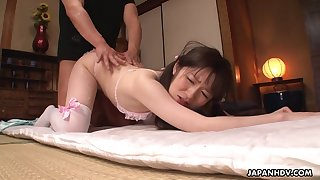 Japanese girl in pink crotchless panties is fucked by team a few boys