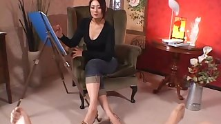 Dejected Japanese painter Risa Murakami makes his dick in all directions her feet