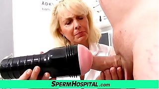 Peaches lady doctor Koko old with young CFNM exam and handjob