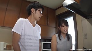Asian mommy pleases horny stepson with morning sex