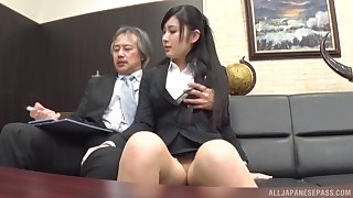Clothed Japanese gets the boss to be hung up on her in the ass
