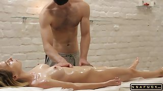 A catch Body Of A Comminuted Blonde Is On all sides of In Oil And Trembles - Homemade