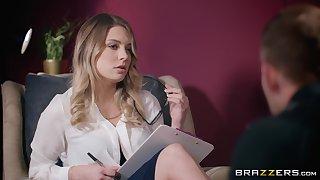 Nerdy blonde office floosie Giselle Palmer creampied while on her break