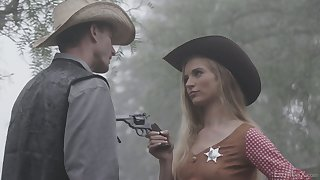 Sexy sheriff Lana Sharapova is fucked wits stranger right in all directions the garden