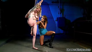 Blonde bitch gets gagged and fucked in kinky lesbian femdom