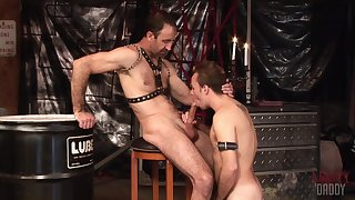 Twink loves to gag with his master's dick up ahead trying anal