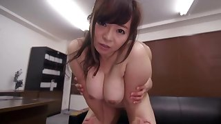 Asian milf with Brobdingnagian tits, superb fuck at one's fingertips the office