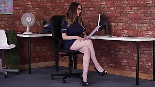 Sexually charged hottie Samantha Bentley is reading erotic untrue  myths in X-rated lingerie