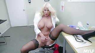 Blonde doctor shows absent masturbating when alone in will not hear of office