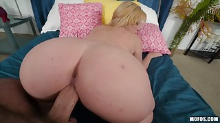 Curvy ass flaxen-haired with small tits, serious XXX hardcore in POV